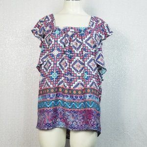 Meadow Rue Open Back Abstract Blouse Top sz 4